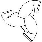 Norse Viking symbol, horn triskelion